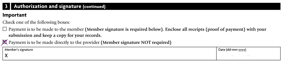 claim form example signature
