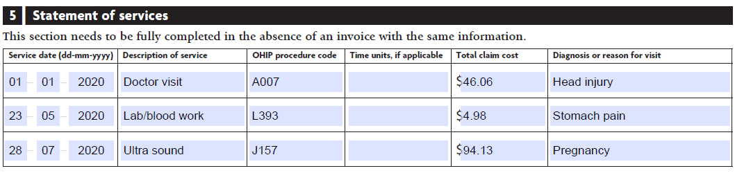 claim form example statement